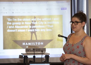 Brett Clark teaches literary techniques using lyrics from Hamilton during the Alice Hoffman Young Writers Retreat
