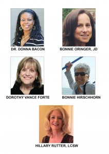 Celebration of Survivorship Speakers: Dr. Donna Bacon, Bonnie Oringer, JD, Dorothy Vance Forte, Bonnie Hirschhorn, and Hillary Rutter, LCSW