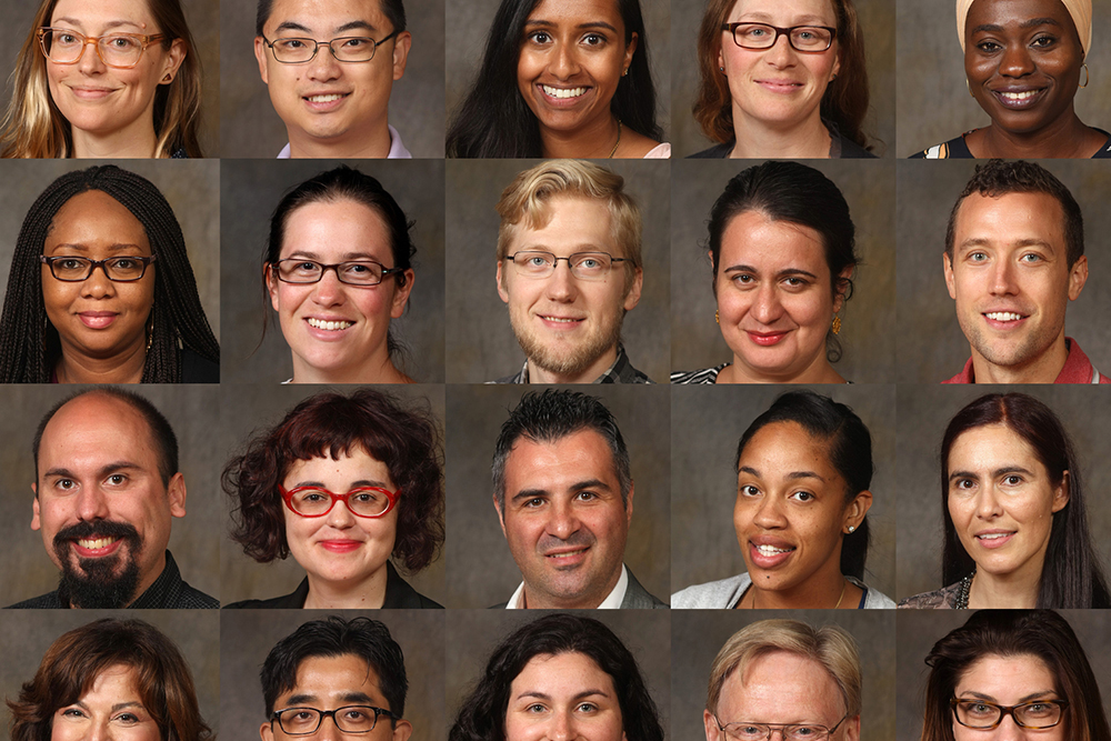 Photo grid showing headshots of Adelphi's newly hired, diverse faculty.