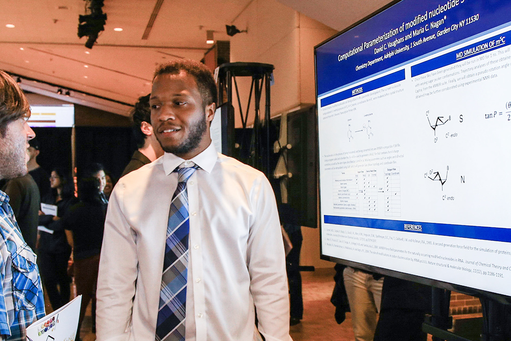 An Adelphi student explains his research project to observers during the 2017 Research Conference.