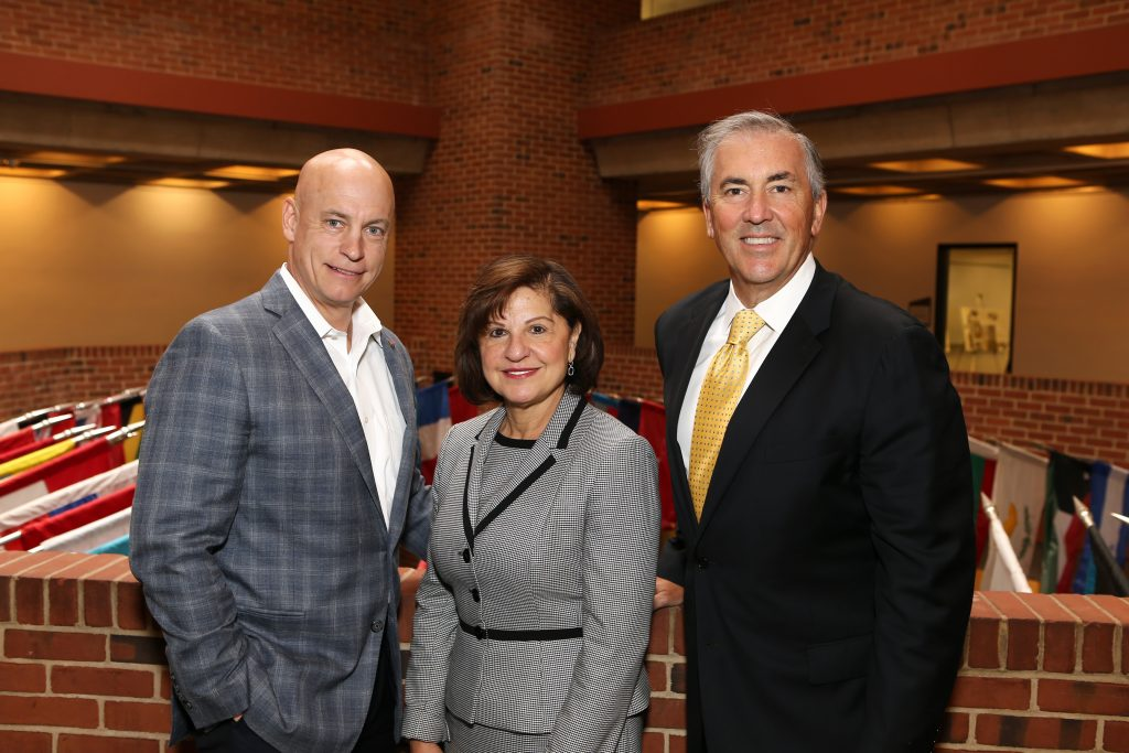 From left, Michael J. Tiedemann, Carmen M. Ortiz and Michael A.L. Balboni]