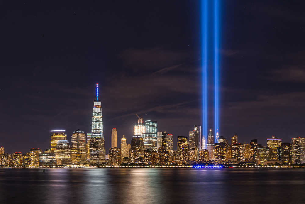 The New York City skyline with the towers of light