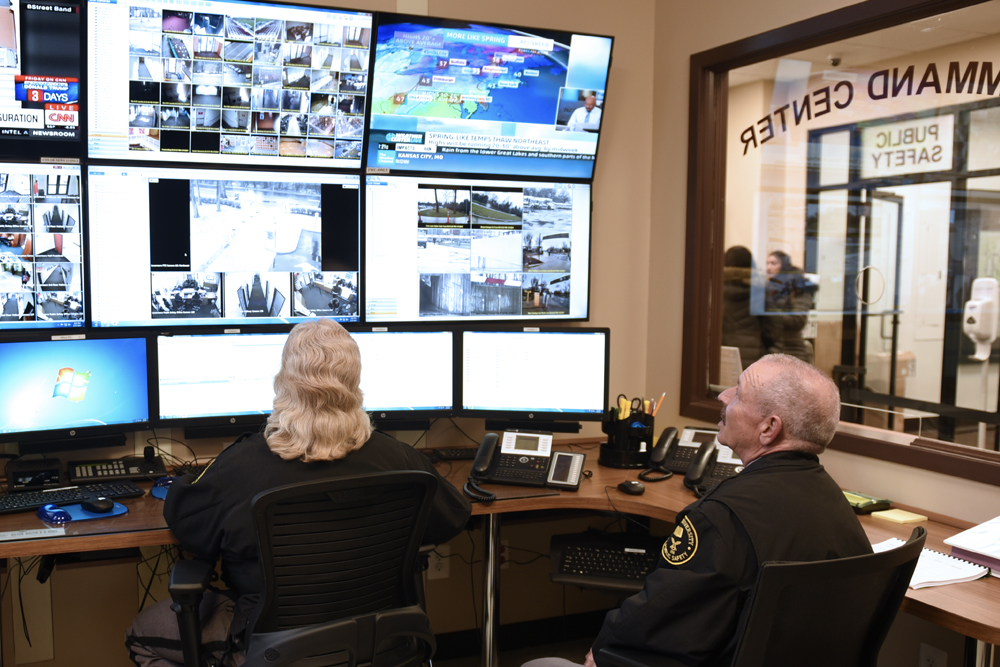 Public Safety officers watching monitors