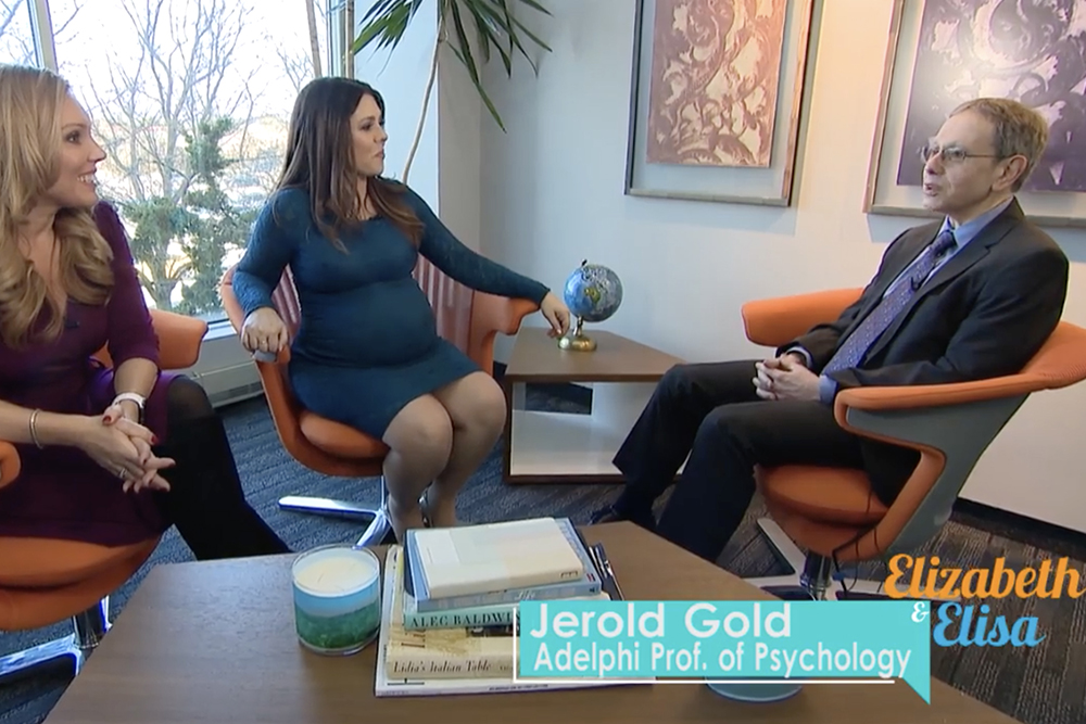 Jerold Gold, Ph.D. '80, Adelphi professor of psychology, being interviewed by News 12