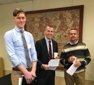 Edward Reno, Ph.D., associate professor and chair of Adelphi's Department of History; Steven Zeidman, J.D., CUNY law professor; Sandy Ramirez