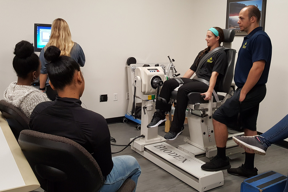 Exercise science students working together