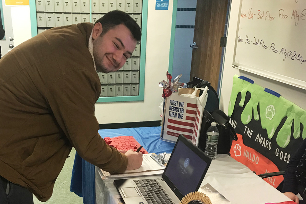 Student Registering to Vote