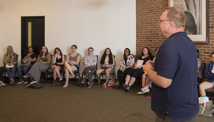 cb930ce553e6 Professor Robert Linne, Ph.D. addresses students of the Alice Hoffman Young  Writers Retreat