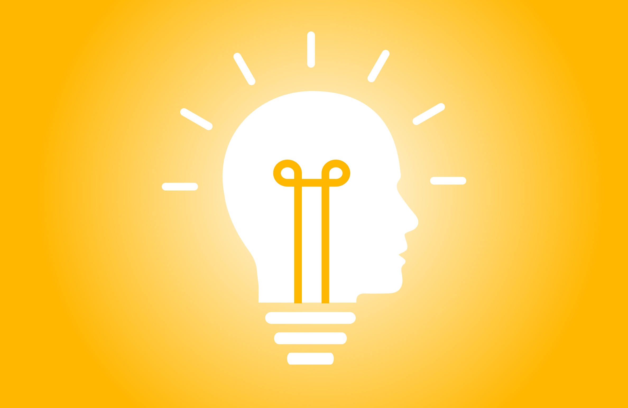 illustration of a light bulb in a young male human head symbolizing brilliant ideas and innovation