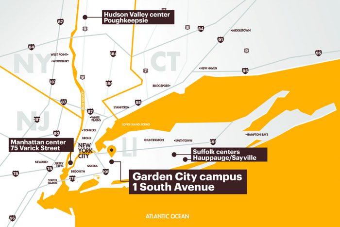 Adelphi Map on Long Island
