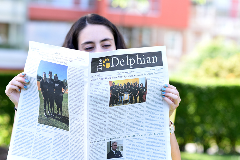 A student reading The Delphian