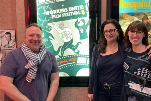 Woodbridge, Schimke, and Linne at Workers Unite Film Festival