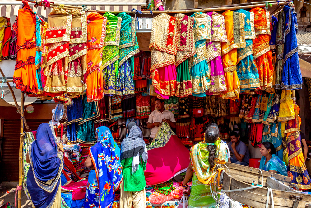 Traditional street market in India